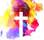 image of golgotha  - colorful abstract background with cross and a bird - JPG