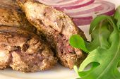 image of liver fry  - Roasted chicken liver with vegetables on white plate - JPG