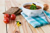 stock photo of boeuf  - beef in a goulash stew served on the table - JPG