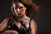 image of sniper  - Riot girl with sniper gun close up portrait - JPG
