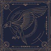 foto of eagle  - Vintage thin line eagle label - JPG