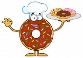 image of donut  - Chef Chocolate Donut Cartoon Character Serving Donuts - JPG