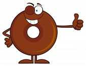 foto of eye-wink  - Winking Chocolate Donut Cartoon Character Giving A Thumb Up - JPG
