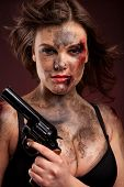 image of breastplate  - Sexy woman with gun - JPG