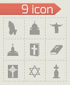pic of triskele  - Vector religion icons set on grey background - JPG
