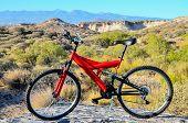 stock photo of suspension  - Modern Red Full Suspension Mountain Bike MTB Bicycle - JPG