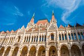 stock photo of hungarian  - Famous building of Hungarian Parliament - JPG