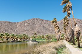 stock photo of oasis  - Oasis in the desert surrounded by mountains Zzyzx California - JPG