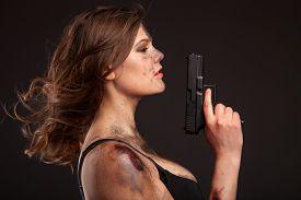 stock photo of girls guns  - Beautiful - JPG