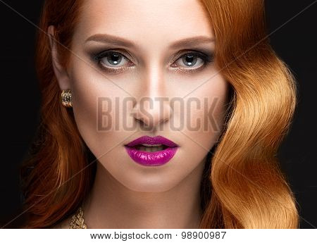 Beautiful red hair woman with evening make-up, pink lips and curls. Beauty face.