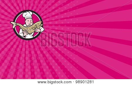 Business Card Chef Cook Holding Trout Fish Circle Cartoon