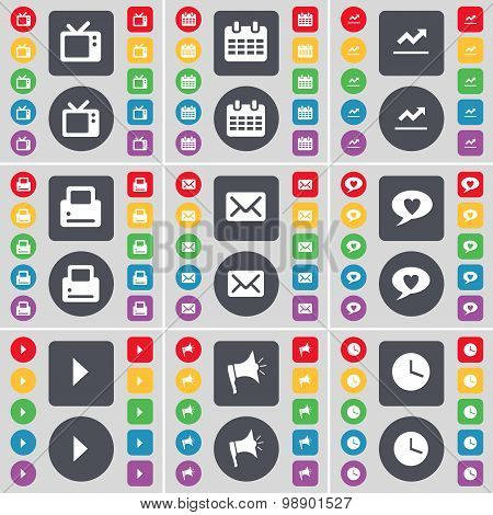 Retro Tv, Calendar, Graph, Printer, Message, Chat Bubble, Media  Icon Symbol. A Large Set Of Flat, C