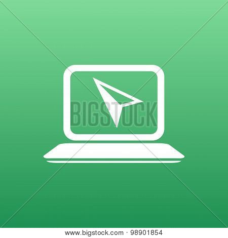 Laptop Icon on Button with Original Illustration