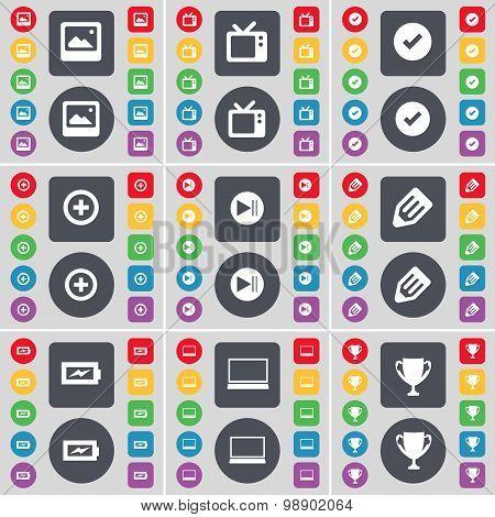 Media Window, Retro Tv, Tick, Plus, Media Skip, Pencil, Charging, Laptop, Cup Icon Symbol. A Large S
