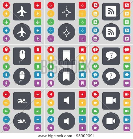 Airplane, Compass, Rss, Mouse, Marker, Chat Bubble, Swimmer, Sound, Film Camera Icon Symbol. A Large