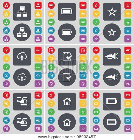 Network, Battery, Star, Cloud, Survey, Trumped, Helicopter, House, Battery Icon Symbol. A Large Set