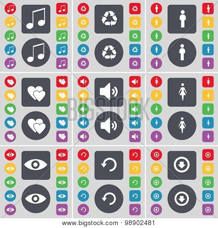 Note, Recycling, Silhouette, Heart, Sound, Silhouette, Vision, Reload, Arrow Down Icon Symbol. A Lar