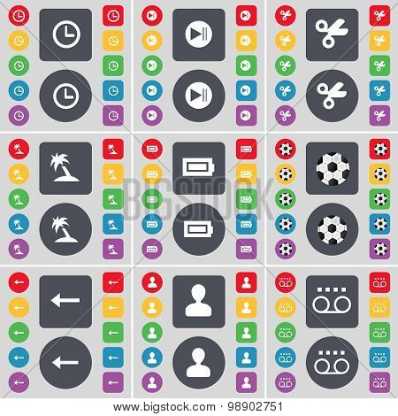 Clock, Media Skip, Scissors, Palm, Battery, Ball, Arrow Left, Avatar, Cassette Icon Symbol. A Large