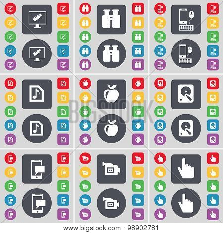 Monitor, Binoculars, Smartphone, Music File, Apple, Hard Drive, Sms, Film Camera, Hand Icon Symbol.