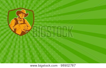 Business Card Pig Farmer Holding Piglet Front Shield Retro