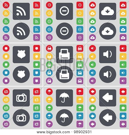 Rss, Minus, Cloud, Police Badge, Sound, Camera, Umbrella, Arrow Left Icon Symbol. A Large Set Of Fla