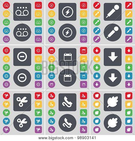Cassette, Flash, Microphone, Minus, Calendar, Arrow Down, Scissors, Receiver, Leaf Icon Symbol. A La