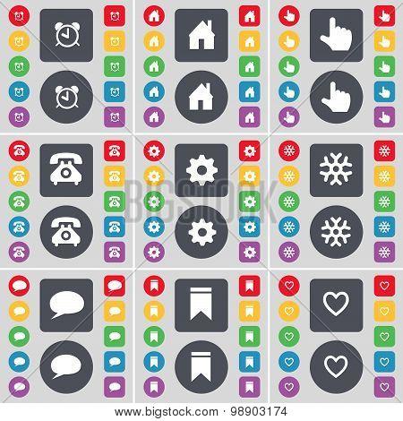 Alarm Clock, House, Hand, Retro Phone, Gear, Snowflake, Chat Bubble, Marker, Heart Icon Symbol. A La