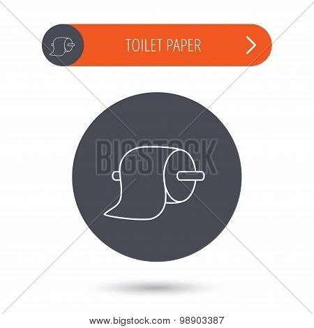 Toilet paper icon. WC hygiene sign.