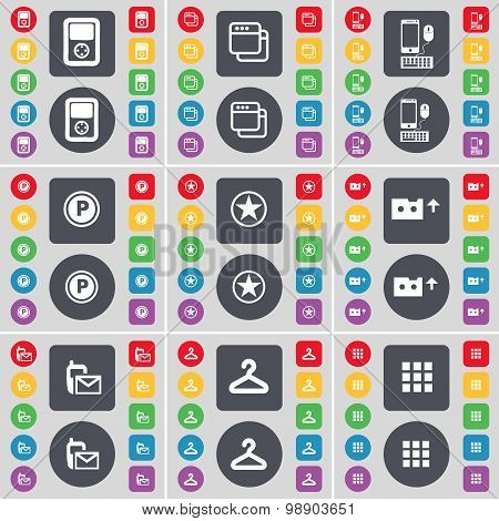 Player, Window, Smartphone, Parking, Star, Cassette, Sms, Hanger, Apps Icon Symbol. A Large Set Of F