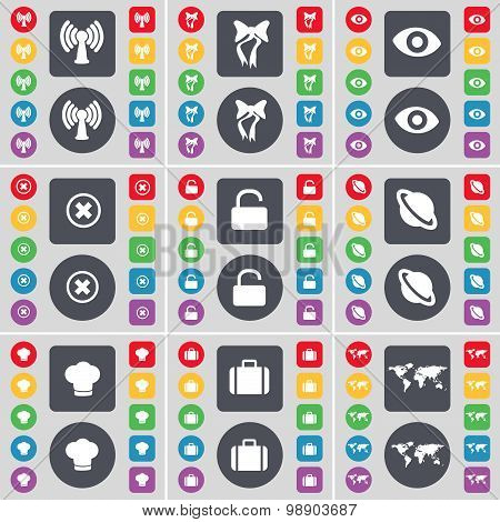 Wi-fi, Bow, Vision, Stop, Lock, Planet, Cooking Hat, Suitcase, Globe Icon Symbol. A Large Set Of Fla