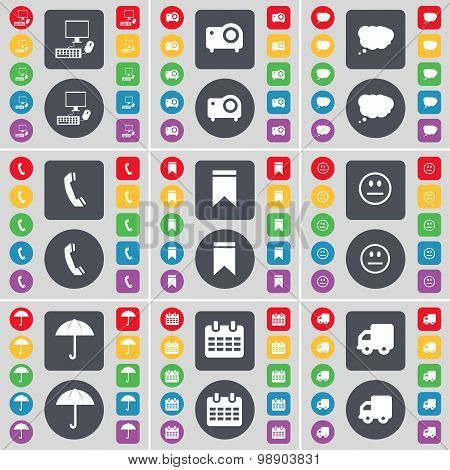 Pc, Project, Chat Cloud, Receiver, Marker, Smile, Umbrella, Calendar, Truck Icon Symbol. A Large Set