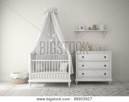 Part of classic children room 3D rendering