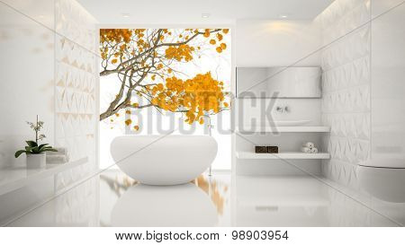 Interior of  white  stylish bathroom 3D rendering