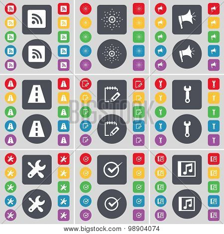Rss, Star, Megaphone, Road, Notebook, Wrench, Tick, Music Window Icon Symbol. A Large Set Of Flat, C
