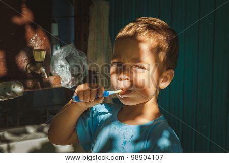 Boy Cleaning Teeth