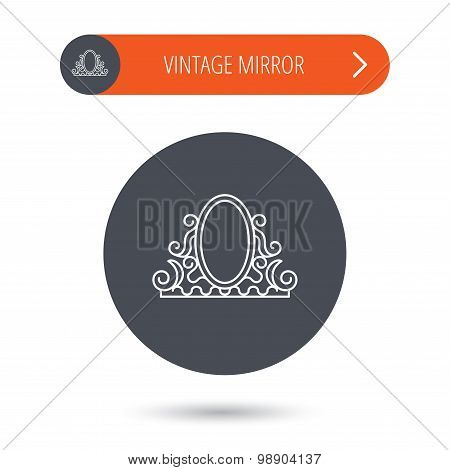 Vintage mirror icon. Retro decoration sign.