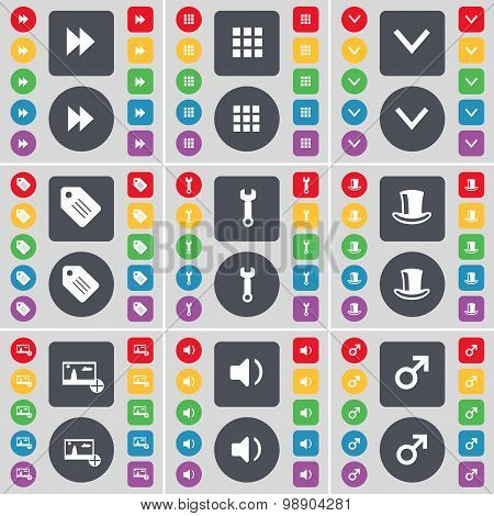 Rewind, Apps, Arrow Down, Tag, Wrench, Silk Hat, Picture, Sound, Mars Symbol Icon Symbol. A Large Se