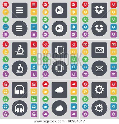 Apps, Media Skip, Dropbox, Microscope, Smartphone, Message, Headphones, Cloud, Gear Icon Symbol. A L