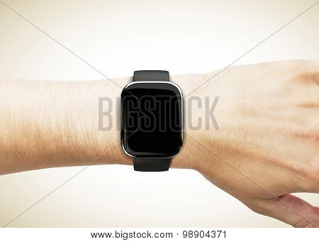 Digital Watch On A Man's Hand