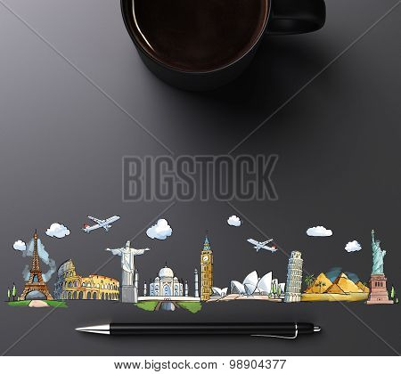 Travel Landmarks With Cup Of Coffee And Pen