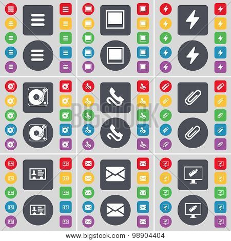 Apps, Window, Flash, Gramophone, Receiver, Clip, Contact, Message, Monitor Icon Symbol. A Large Set
