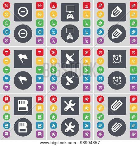 Minus, Monitor, Pencil, Flag, Satellite Dish, Alarm Clock, Sim Card, Wrench, Clip Icon Symbol. A Lar
