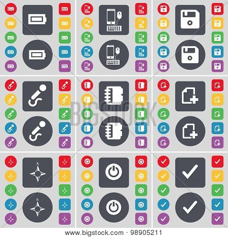 Battery, Smartphone, Floppy, Microphone, Notebook, File, Compass, Power, Tick Icon Symbol. A Large S