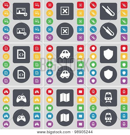 Picture, Stop, Microphone Connector, File, Car, Badge, Gamepad, Map, Train Icon Symbol. A Large Set
