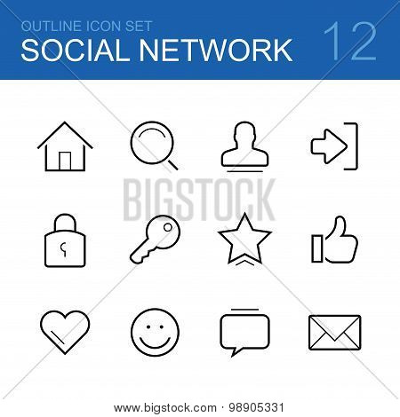 Social network vector outline icon set