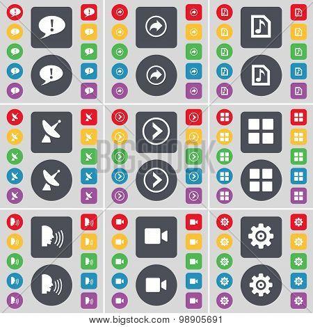 Chat Bubble, Back, Music File, Satellite Dish, Arrow Right, Apps, Talk, Film Camera, Gear Icon Symbo
