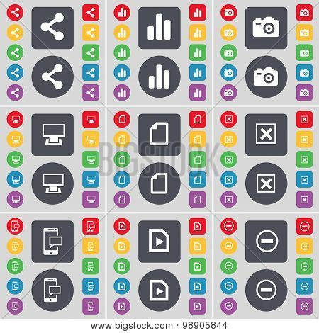 Share, Diagram, Camera, Monitor, File, Stop, Sms, Media File, Minus Icon Symbol. A Large Set Of Flat