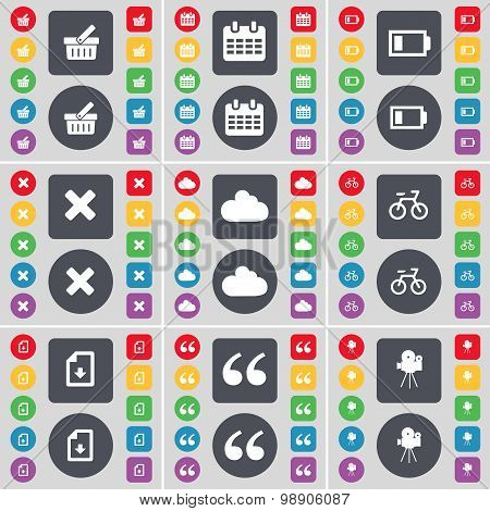 Basket, Calendar, Battery, Stop, Cloud, Bicycle, Download File, Quotation Mark, Film Camera Icon Sym