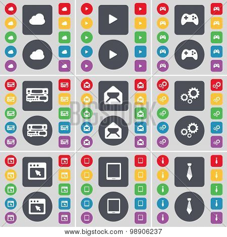 Cloud, Media Play, Gamepad, Record-player, Message, Gear, Window, Tablet Pc, Tie Icon Symbol. A Larg