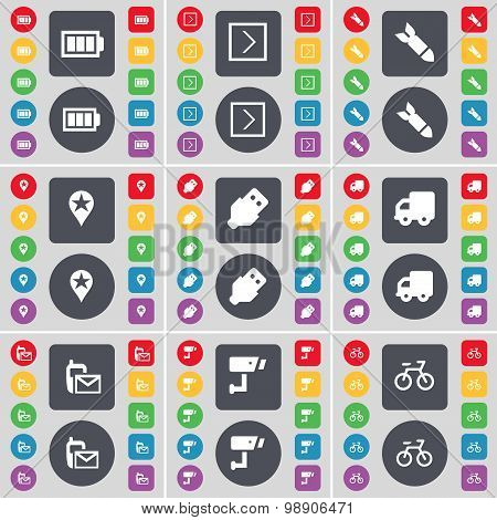 Battery, Arrow Right, Rocket, Checkpoint, Usb, Truck, Sms, Cctv, Bicycle Icon Symbol. A Large Set Of